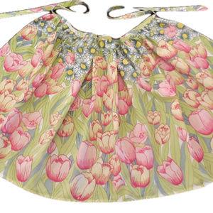 Vintage Apron Adult Size Floral Print Green Pink